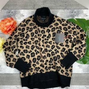 Cynthia Rowley leopard turtleneck sweater large
